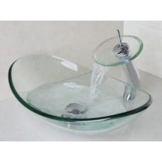 Kit com Cuba de Vidro Transparente Oval CK18 + Torneira Monocomando com Misturador + Ralo Click - LMS-CTR02