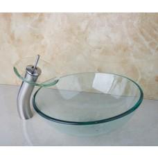 Kit com Cuba de Vidro Transparente Redonda CK1-420 + Torneira Monocomando com Misturador + Ralo Click - LMS-CTR01