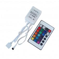 Controlador RGB sem fio + Controle Remoto 24 teclas para Fita Led 5050 e 3528 + conector - LMS-LC24T