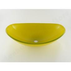 Cuba de Vidro Oval para Lavabos e Banheiros - Amarelo / Amarela - LMS-CK18Y
