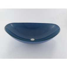 Cuba de Vidro Oval para Lavabos e Banheiros - Azul - LMS-CK18A