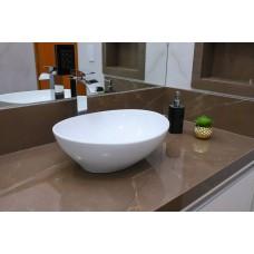Cuba de Apoio em Cerâmica para Lavabos e Banheiros - Branca - Premium - LMS-MK-1018B