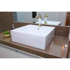 Cuba de Apoio em Cerâmica para Lavabos e Banheiros - Branca - Premium - LMS-MK-1020
