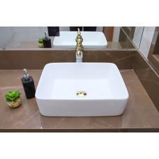 Cuba de Apoio em Cerâmica para Lavabos e Banheiros - Branca - Premium - LMS-MK-1034
