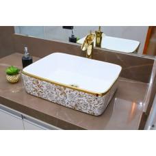 Cuba de Apoio em Cerâmica para Lavabos e Banheiros - Branca e Dourada - Premium - LMS-MK-1034GF