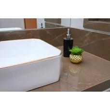 Cuba de Apoio em Cerâmica para Lavabos e Banheiros - Branca com Detalhe em Dourado - Premium - LMS-MK-1035C03
