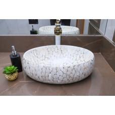 Cuba de Apoio em Cerâmica para Lavabos e Banheiros - Marmorizada - Premium - LMS-MK-1061-J01