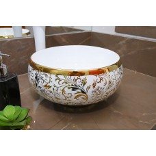 Cuba de Apoio em Cerâmica para Lavabos e Banheiros - Branca e Dourada - Premium - LMS-MK-1080GF