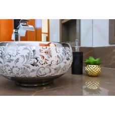 Cuba de Apoio em Cerâmica para Lavabos e Banheiros - Branca e Prata - Premium - LMS-MK-1080SF