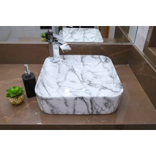 Cuba de Apoio em Cerâmica para Lavabos e Banheiros - Marmorizada - Premium - LMS-MK-4017S01