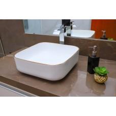 Cuba de Apoio em Cerâmica para Lavabos e Banheiros - Branca com Detalhe Dourado - Premium - LMS-MK-4018C03