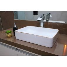 Cuba de Apoio em Cerâmica para Lavabos e Banheiros - Branca com Detalhe Dourado - Premium - LMS-MK-4027BC03