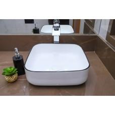 Cuba de Apoio em Cerâmica para Lavabos e Banheiros - Branca com Detalhe em Preto - Premium - LMS-MK-HX4018