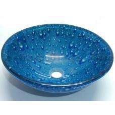 Cuba de Vidro Redonda para Lavabos e Banheiros - Azul com Detalhes de Gotas de Água - LMS-CK15