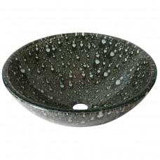 Cuba de Vidro Redonda para Lavabos e Banheiros - Preta com Bolhas de Água Brancas - LMS-CK156