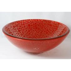 Cuba de Vidro Redonda para Lavabos e Banheiros - Vermelha Mosaico - LMS-CK127