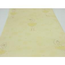 Papel de Parede - Amarelo Infantil com Desenhos de Bailarinas - Rolo com 10m x 53cm - LMS-PPY-YWC16-EN27005