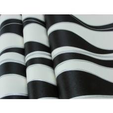 Papel de Parede Lavável - Branco com Faixas em Preto e Prata - Rolo com 10m x 53cm - LMS-PPD-133071
