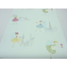 Papel de Parede - Azul Claro com desenhos de Bailarinas -  Rolo com 10m x 53cm - LMS-PPD-A5012