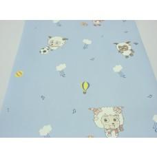 Papel de Parede - Azul com desenhos de Ovelhas -  Rolo com 10m x 53cm - LMS-PPD-A5032