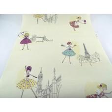 Papel de Parede - Creme com desenhos de Bailarina - Rolo 10m x 53cm - LMS-PPD-A5014