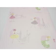 Papel de Parede - Rosa com desenhos de Bailarinas - Rolo com 10m x 53cm - LMS-PPD-A5013