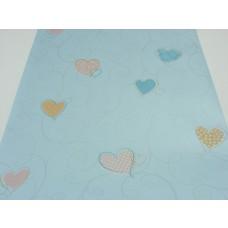 Papel de Parede - Azul Celeste com desenhos de Corações - Rolo com 10m x 53cm - LMS-PPD-A5025