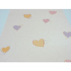 Papel de Parede - Creme Rosado com desenhos de Corações - Rolo com 10m x 53cm - LMS-PPD-A5023