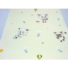 Papel de Parede - Creme com desenhos de Ovelhas -  Rolo 10m x 53cm - LMS-PPD-A5031