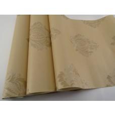 Papel de Parede Lavável - Marfim com Arabescos em Ocre -  Rolo com 10m x 53cm - LMS-PPD-W2010-7