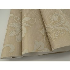 Papel de Parede - Bege com Detalhes em Creme - Rolo com 10m x 53cm - LMS-PPY-YW100-520206