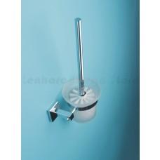Escova Sanitária de Metal Cromado com Suporte em Vidro - Acabamento Quadrado - LMS-AB8910