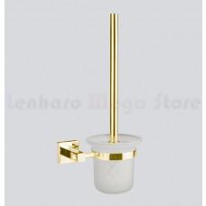 Escova Sanitária de Metal Dourado com Suporte em Vidro - Acabamento Quadrado - LMS-AB8910G