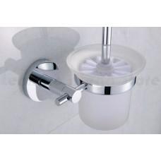 Escova Sanitária de Metal Cromado com Suporte em Vidro - Acabamento Redondo - LMS-AB9510C