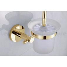 Escova Sanitária de Metal Dourado com Suporte em Vidro - Acabamento Redondo - LMS-AB9510G