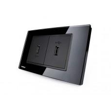 Espelho Livolo com 2 Entradas USB Preto 2.1 Ampéres  - LMS-VL-C392USB2.1-82 - 2445