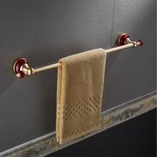 Porta Toalha / Toalheiro em Metal Dourado - Acabamento Redondo com detalhes em Vermelho - LMS-AB-G106-03GR