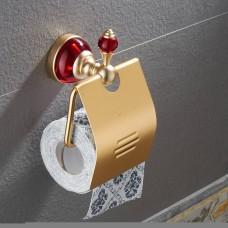 Porta Papel Higiênico em Metal Dourado - Acabamento Redondo com detalhes em Vermelho - LMS-AB-G106-04GR