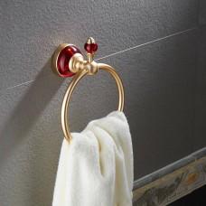 Porta Toalha / Toalheiro em Metal Dourado - Acabamento Redondo com detalhes em Vermelho - LMS-AB-G106-06GR