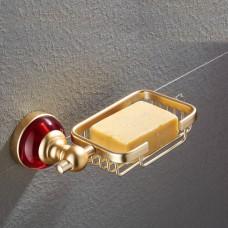 Porta Sabonete / Saboneteira em Metal Dourado - Acabamento Redondo com detalhes em Vermelho - LMS-AB-G106-07GR