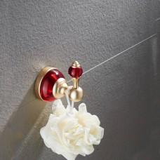 Porta Toalha / Toalheiro em Metal Dourado - Acabamento Redondo com detalhes em Vermelho - LMS-AB-G106-10GR