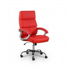 Cadeira Presidente Giratória Almofadada para Escritório Vermelha - LMS-BY-9-211