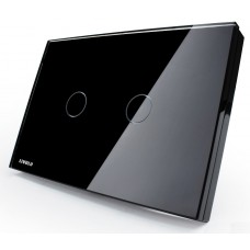 Interruptor Touch Screen com 2 botões com Função Paralelo - Preto - Livolo - LMS-VL-C302S-82