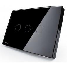 Interruptor Touch Screen com 3 botões com Função Paralelo - Preto - Livolo - LMS-VL-C303S-82