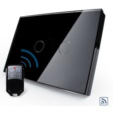Interruptor Touch Screen com 2 botões com Função Remote e Dimmer - Preto - Livolo - LMS-VL-C302DR-82