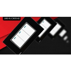 Espelho Livolo com Interruptor de 3 Botões Branco c/ Acabamento Preto - LMS-VL-C3K3S-82