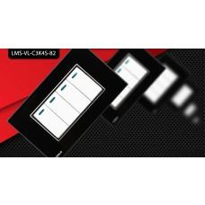 Espelho Livolo com Interruptor de 4 Botões Branco c/ Acabamento Preto - LMS-VL-C3K4S-82