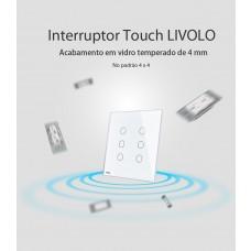 Interruptor Touch Screen 6 botões (4x4)  Branco - Livolo - LMS-VL-C506SDR-81 (3 botões dimmer c/ RF e 3 botões paralelo sem RF)
