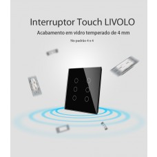 Interruptor Touch com 6 botões (4x4) - Preto - Livolo - LMS-VL-C506-82