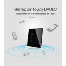 Interruptor Touch com 6 botões (4x4) com Função Remote - Preto - Livolo - LMS-VL-C506R-82